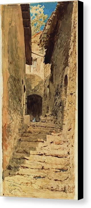 Pio Joris Canvas Print featuring the painting A View In Subiaco by Pio Joris