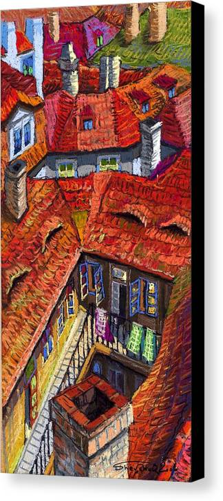 Pastel Canvas Print featuring the painting Prague Roofs 01 by Yuriy Shevchuk