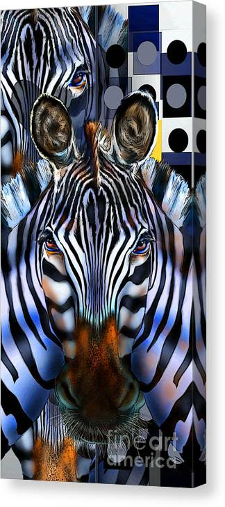 Africa Canvas Print featuring the painting Zebra Dreams by Reggie Duffie