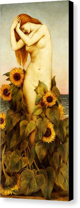 Sunflower Canvas Print featuring the painting Clytie by Evelyn De Morgan