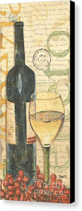 Wine Canvas Print featuring the painting Italian Wine And Grapes 1 by Debbie DeWitt
