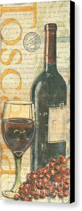 Wine Canvas Print featuring the painting Italian Wine And Grapes by Debbie DeWitt