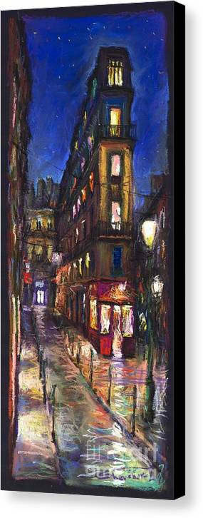 Landscape Canvas Print featuring the painting Paris Old Street by Yuriy Shevchuk