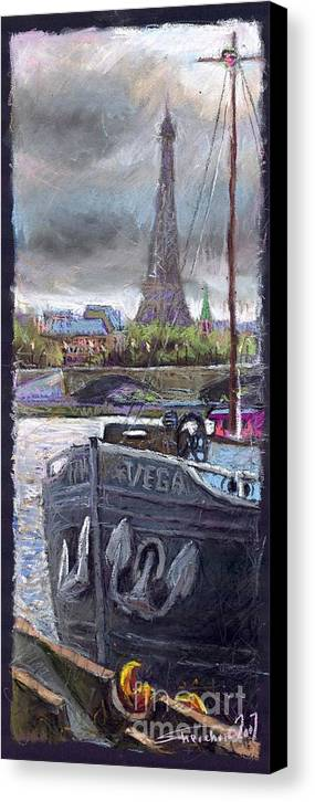Pastel Canvas Print featuring the painting Paris Pont Alexandre IIi by Yuriy Shevchuk