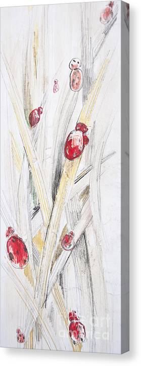 Abstract Canvas Print featuring the photograph Abstract Floral Painted Background With Ladybugs by Aleksandar Mijatovic