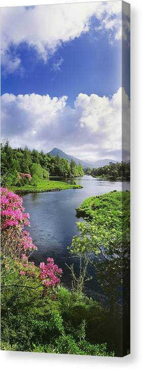 Beauty In Nature Canvas Print featuring the photograph River Leading To A Mountain by The Irish Image Collection