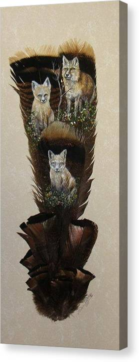 Fox. Kits Canvas Print featuring the painting Fox Family by Theresa Jefferson