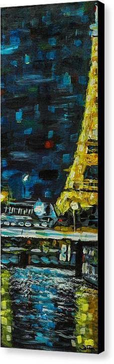 Paris Canvas Print featuring the painting Paris Night by Joel Tesch