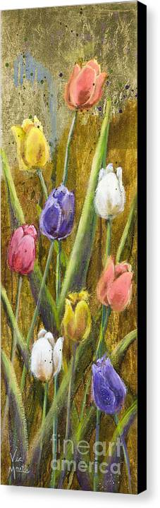 Splash Canvas Print featuring the painting Splashy Tulips II With Gold Leaf By Vic Mastis by Vic Mastis