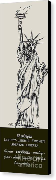 4th Of July Canvas Print featuring the drawing Statue Of Liberty New York by Ginette Callaway