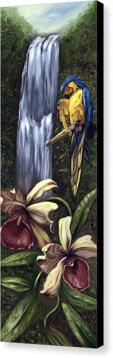 Birds Canvas Print featuring the painting Guardian Of The Falls by Anne Kushnick