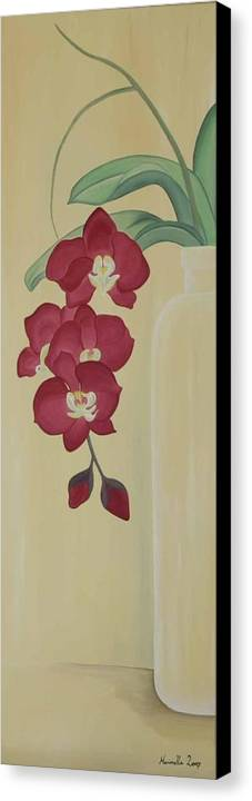 Marinella Owens Canvas Print featuring the painting Pink Orchide In A Vase by Marinella Owens