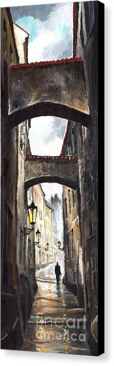 Oil On Canvas Paintings Canvas Print featuring the painting Prague Old Street 02 by Yuriy Shevchuk