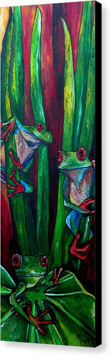 Tree Frogs Canvas Print featuring the painting Trinity Of Tree Frogs by Patti Schermerhorn