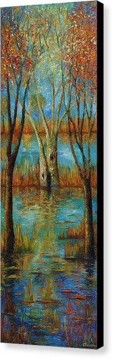 Landscape Canvas Print featuring the painting Water - Left Part Of Triptych. by Evgenia Davidov