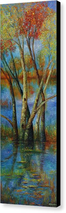 Landscape Canvas Print featuring the painting Water - Right Part Of Triptych. by Evgenia Davidov