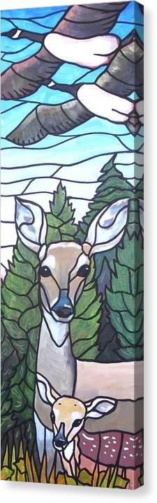 Deer Canvas Print featuring the painting Deer Scene by Jim Harris