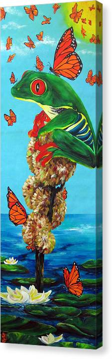 Frogs Canvas Print featuring the painting Return Of The Monarchs by Cheryl Ehlers