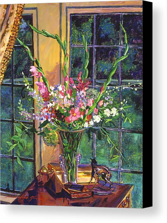 Still Life Canvas Print featuring the painting Gladiola Arrangement by David Lloyd Glover