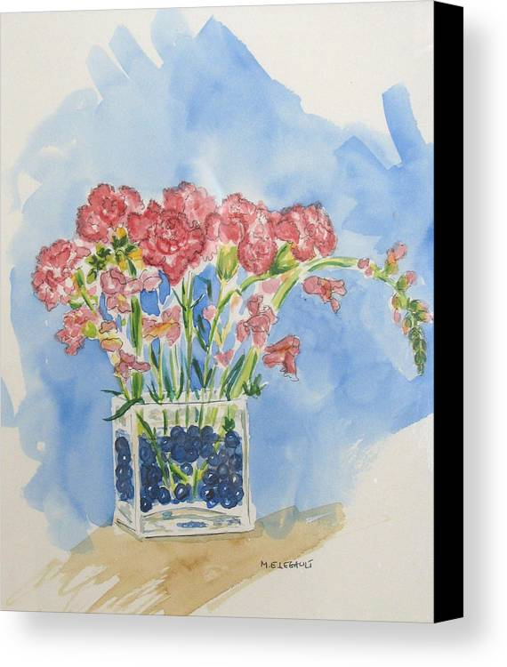 Flowers Canvas Print featuring the painting Flowers In A Vase by Mary Ellen Mueller Legault