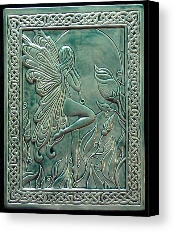 Clay Canvas Print featuring the relief Moon Fairy by Shannon Gresham