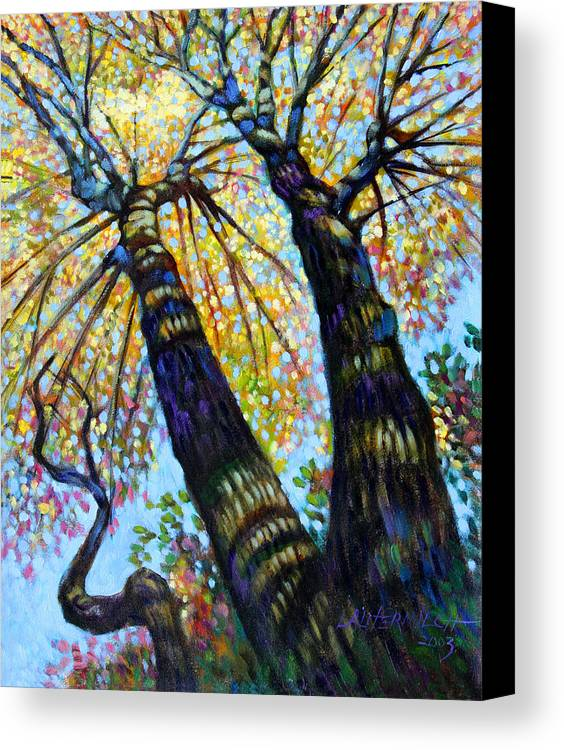 Fall Canvas Print featuring the painting Reaching For The Light by John Lautermilch