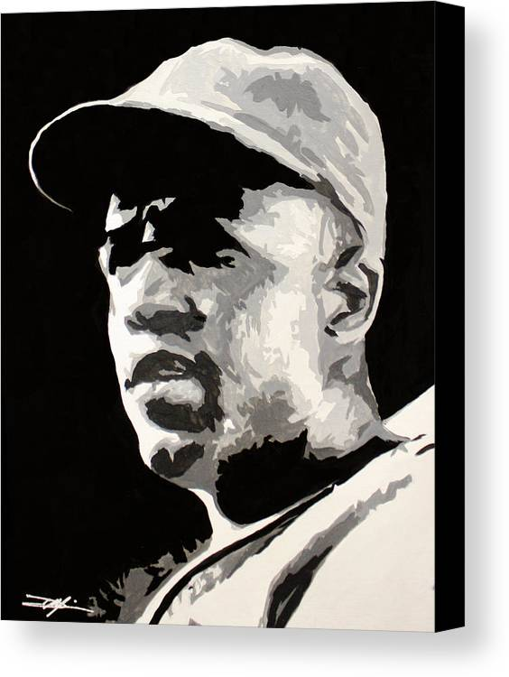 Jackie Robinson Canvas Print featuring the drawing Robinson 42 by Don Medina