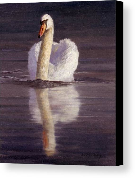 Swan Canvas Print featuring the painting Swan by David Stribbling