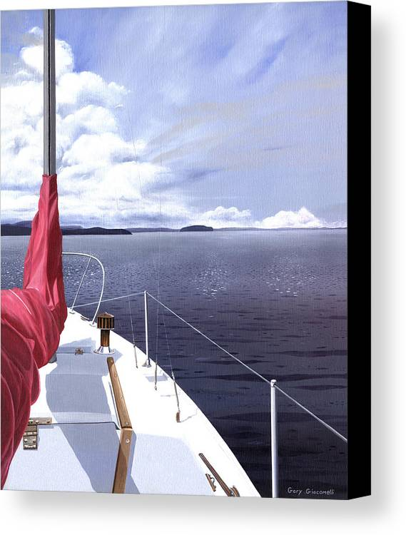 Sailing Canvas Print featuring the painting Cruising North by Gary Giacomelli