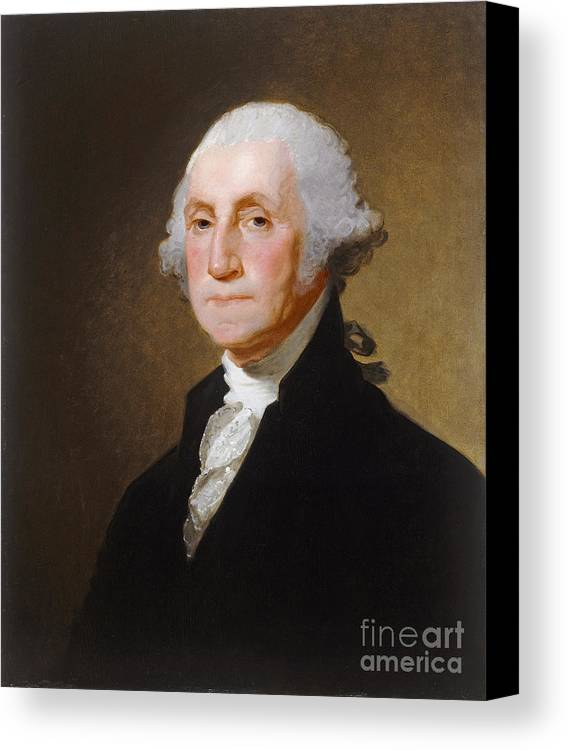 George; Washington; 1st; First; Us; President; United; States; America; Usa; Male; Portrait; Half; Length; Leader Canvas Print featuring the painting George Washington by Gilbert Stuart