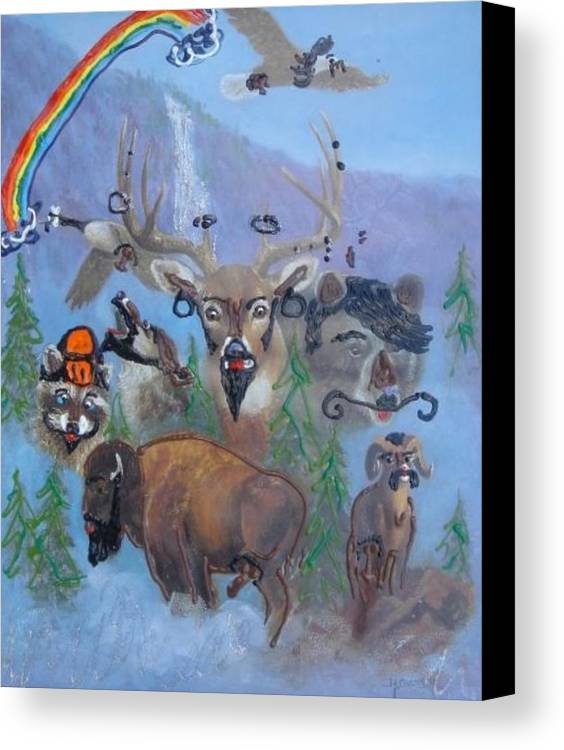 Dear Canvas Print featuring the painting Animal Equality by Lisa Piper