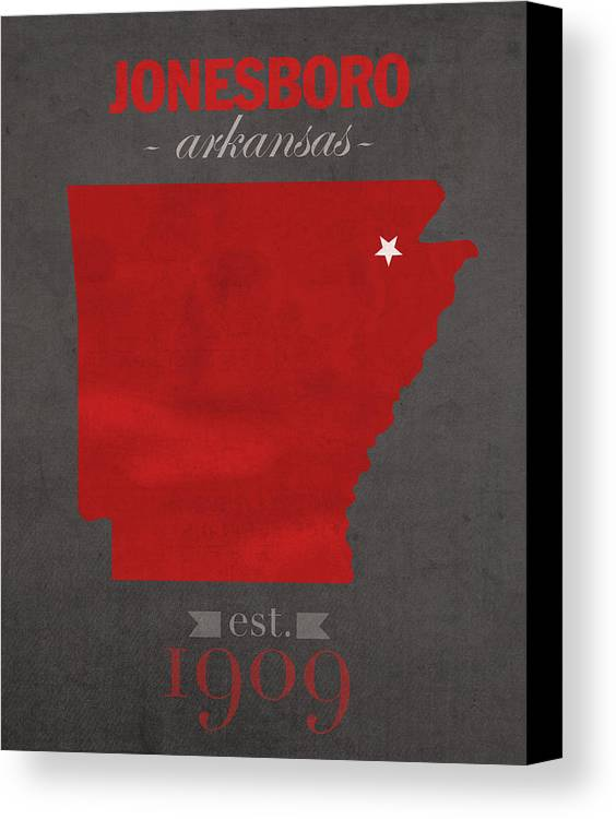Arkansas State University Canvas Print featuring the mixed media Arkansas State University Red Wolves Jonesboro College Town State Map Poster Series No 014 by Design Turnpike