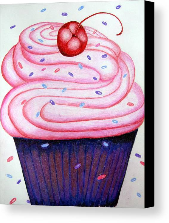 Cake Canvas Print featuring the drawing Big Cupcake by Kori Vincent
