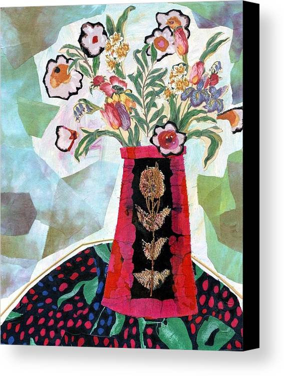 Flowers In A Vase Canvas Print featuring the mixed media Bird Blossom Vase by Diane Fine