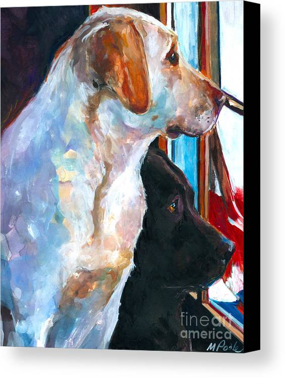 Labrador Retriever Canvas Print featuring the painting By My Side by Molly Poole