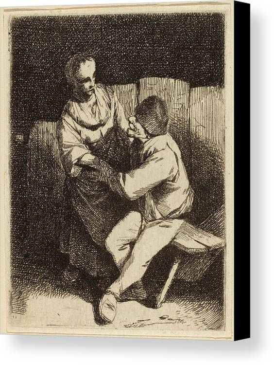 Cornelis Canvas Print featuring the drawing Cornelis Bega Dutch, 1631-1632 - 1664, The Refused Caress by Quint Lox
