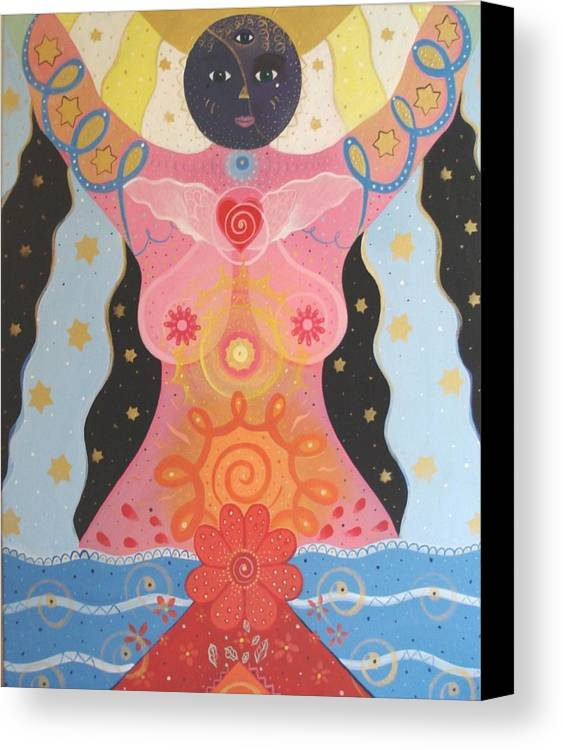 Goddess Canvas Print featuring the painting Cosmic Carnival I V Aka Creation by Helena Tiainen