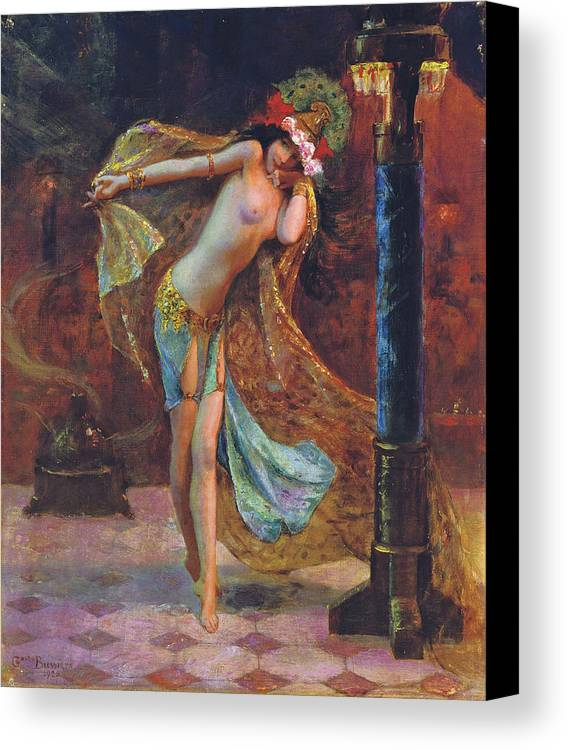 Gaston Bussiere Canvas Print featuring the digital art Dance Of The Veils by Gaston Bussiere