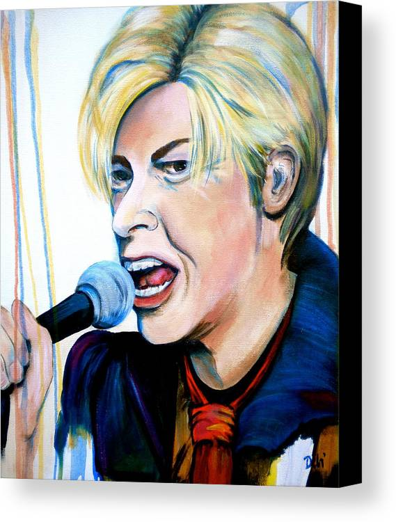 David Bowie Canvas Print featuring the painting David Bowie by Debi Starr