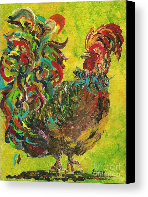 Rooster Canvas Print featuring the painting De Colores Rooster #2 by Eloise Schneider Mote