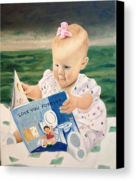 Baby Reading Book Canvas Print featuring the painting Emory Claire by Logan Cobb