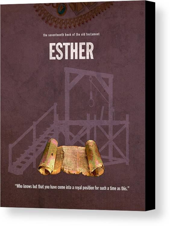 Esther Canvas Print featuring the mixed media Esther Books Of The Bible Series Old Testament Minimal Poster Art Number 17 by Design Turnpike