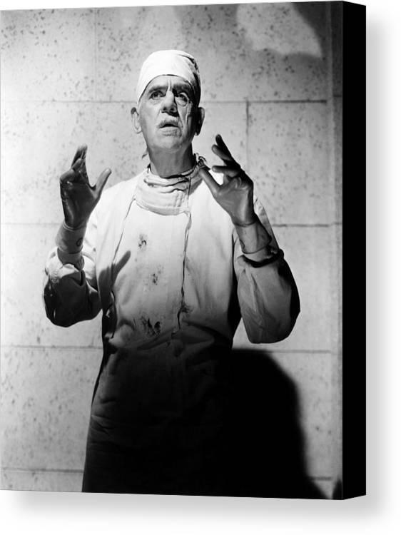 1950s Portraits Canvas Print featuring the photograph Frankenstein 1970, Boris Karloff, 1958 by Everett