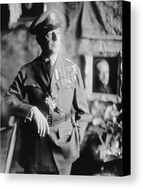 History Canvas Print featuring the photograph General Douglas Macarthur, Ca. 1940. He by Everett