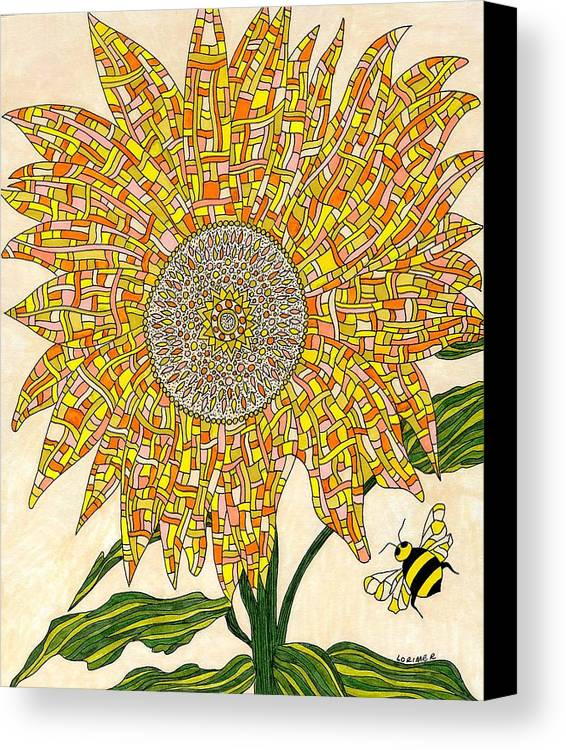 Nature Canvas Print featuring the mixed media Georgia Sunflower by Valerie Lorimer