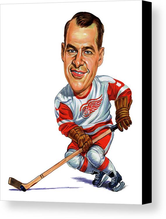 Hockey Canvas Print featuring the painting Gordie Howe by Art