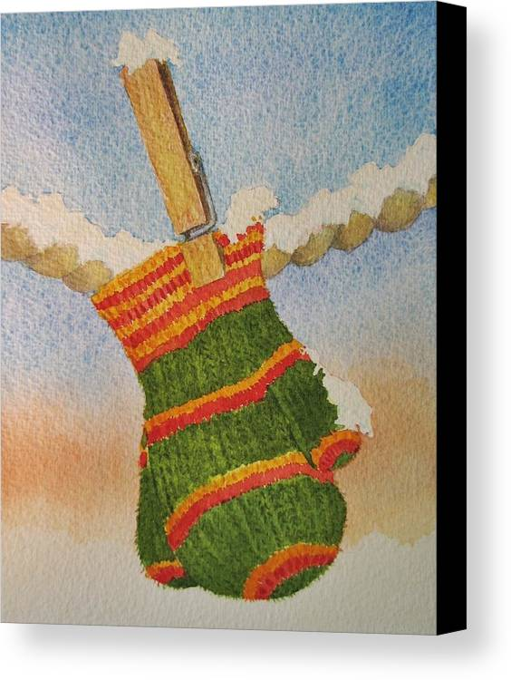 Children Canvas Print featuring the painting Green Mittens by Mary Ellen Mueller Legault