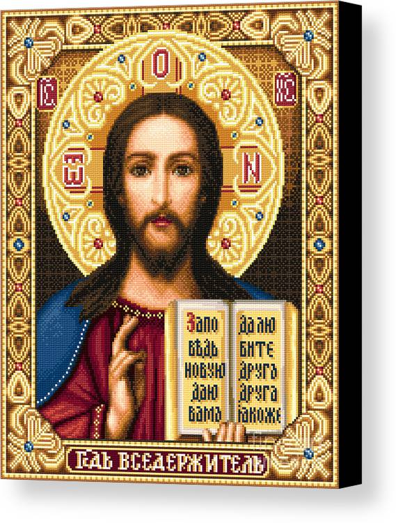 Orthodox Icon Canvas Print featuring the tapestry - textile Jesus Christ Pantocrator by Stoyanka Ivanova