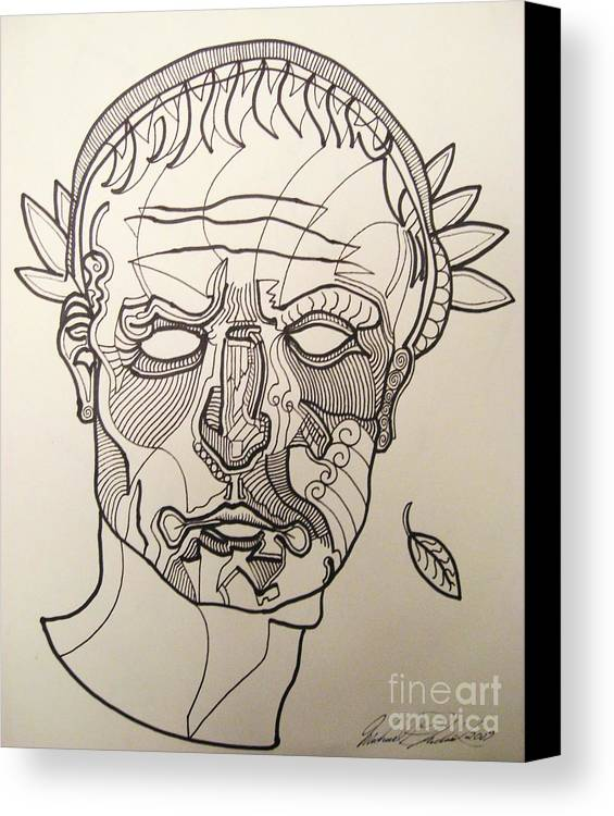 Michael Kulick Canvas Print featuring the drawing Julius Caesar by Michael Kulick
