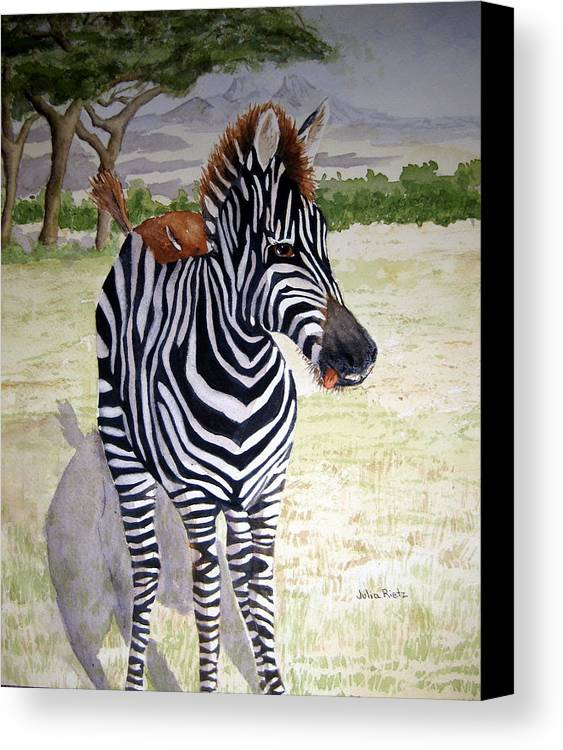 Africa Canvas Print featuring the painting Little Stripes by Julia RIETZ